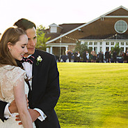 Bridal couple on the manicured grounds of Spring Lake Golf Club, Spring Lake, NJ photo Tracey Attlee