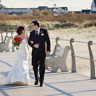 Wedding Couple Strolls the Boards, Spring Lake, NJ photo Tracey Attlee