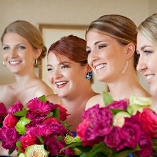 Bridesmaids and Florals at Key Bridge Marriott, Rosslyn, VA photo by Tracey Attlee