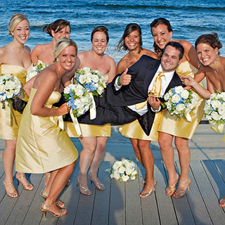 Wedding party ladies in lemon silk on the Spring Lake NJ boardwalk photo Tracey Attlee