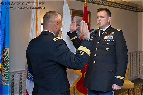 An Army general swears in a new Army Colonel at Ft. Myer, Arlington VA photo by Tracey Attlee