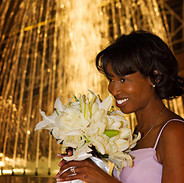 A bride to be waits by the sparkling fountain outside The City Club of Washington DC, photo Tracey Attlee