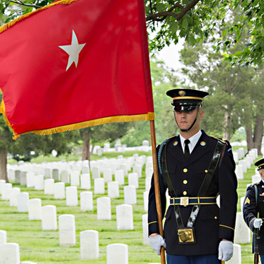 Flying the Brigadier General's Flag, Arlington Cemetery, photo by Tracey Attlee