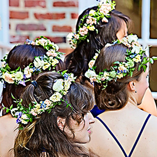 Floral headpieces for the bridesmaids at Rockwood Manor, Potomac, MD photo by Tracey Attlee