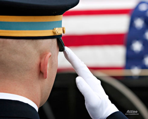 A farewell salute at a military honors funeral ceremony Arlington Cemetery. Video by Tracey Attlee.