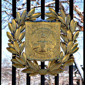 Decoration at Entrance Gate of Arlington Cemetery, photo by Tracey Attlee