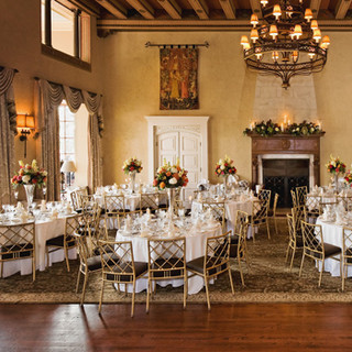 The Congressional Country Club, Bethesda, MD ballroom set for a spring wedding, photo Tracey Attlee