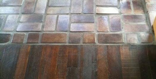 Blending hardwood floors to brick floors