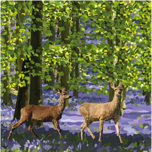 Springtime Deer in Bluebells Print