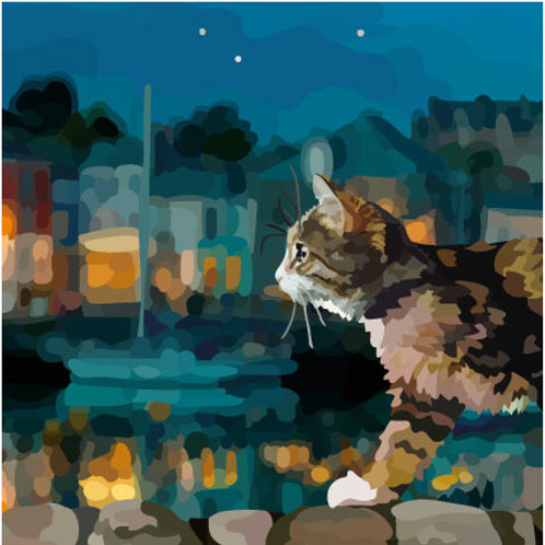 Harbour Cat Greeting Card