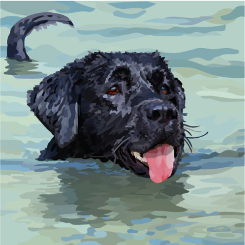 Labrador Swimming Print