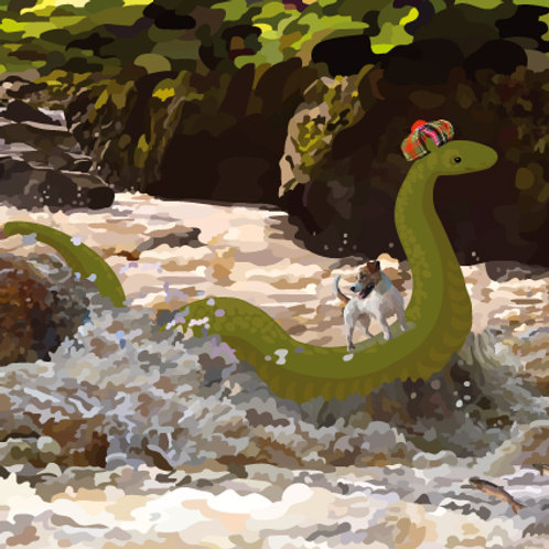 Loch Ness Monster and Dog Greeting Card