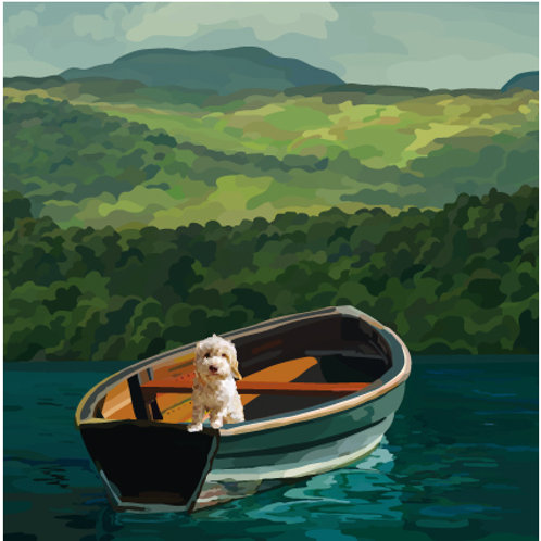 Dog in a Boat Greeting Card