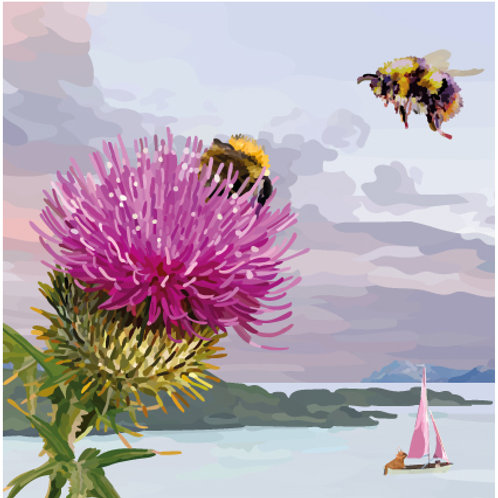 Bumblebee and Thistle Print