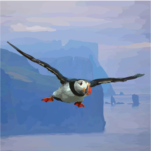 Flying Puffin Greeting Card