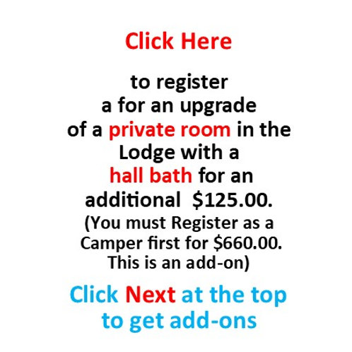 Upgrade to a Private Room (Hall Bath) September 13-16