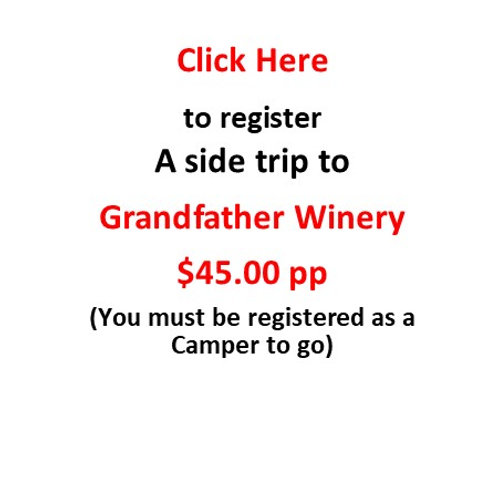 Side Trip: One Attendee for Grandfather Winery on Sunday (2:00 PM to 5:00 PM)