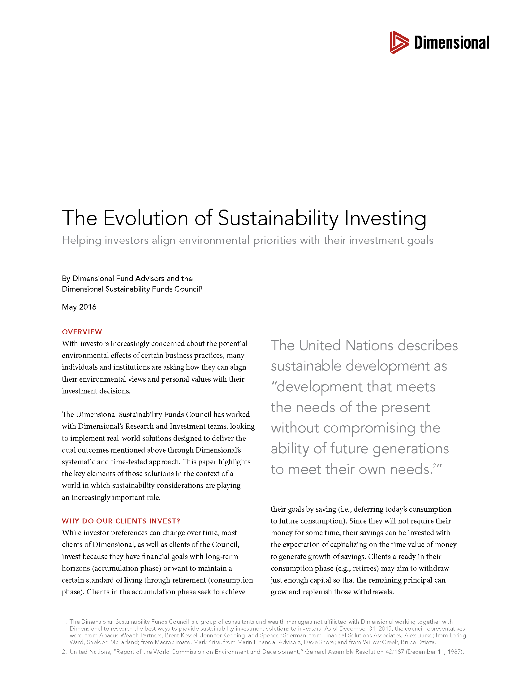 Sustainability Investing CFP DFA 1
