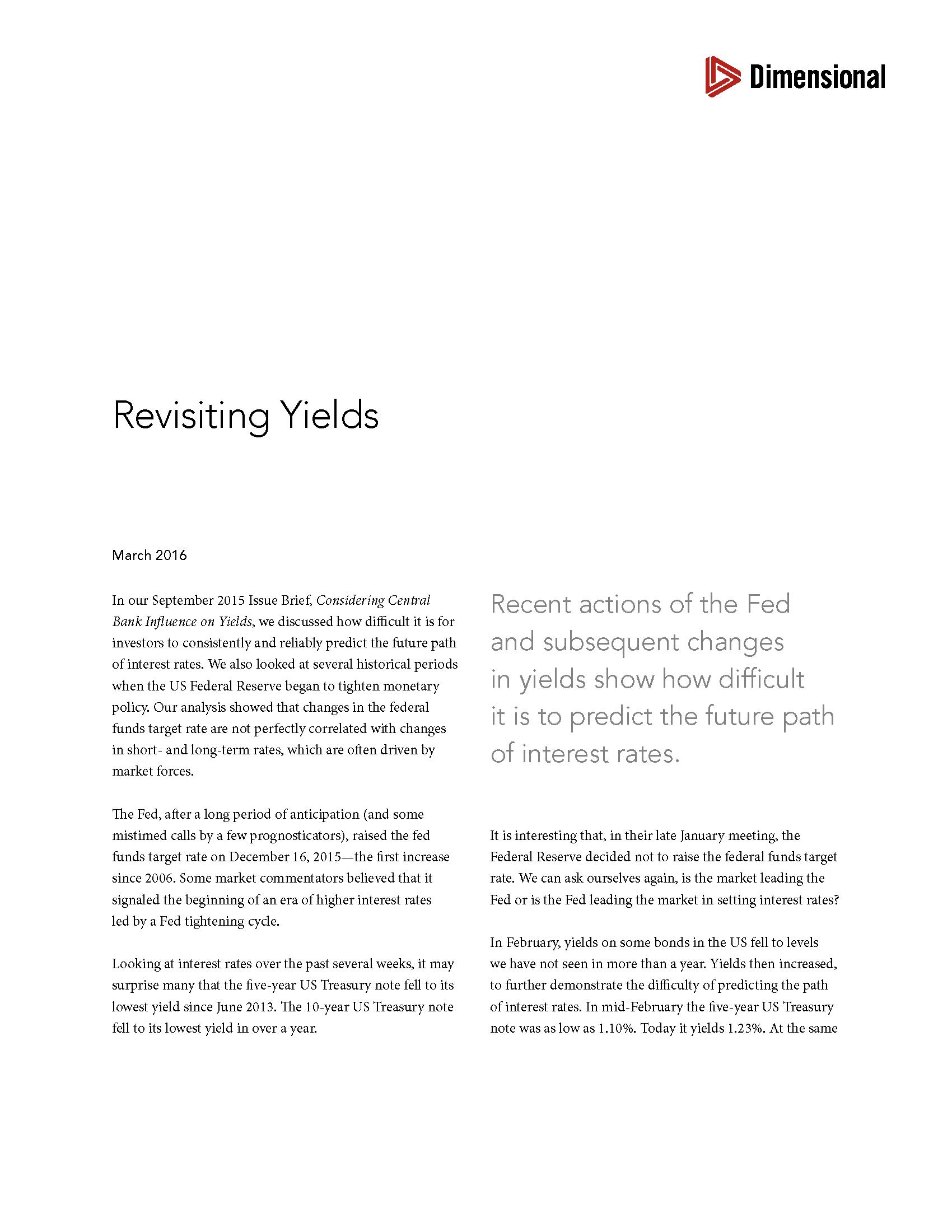 DFA Advisor Yield Report