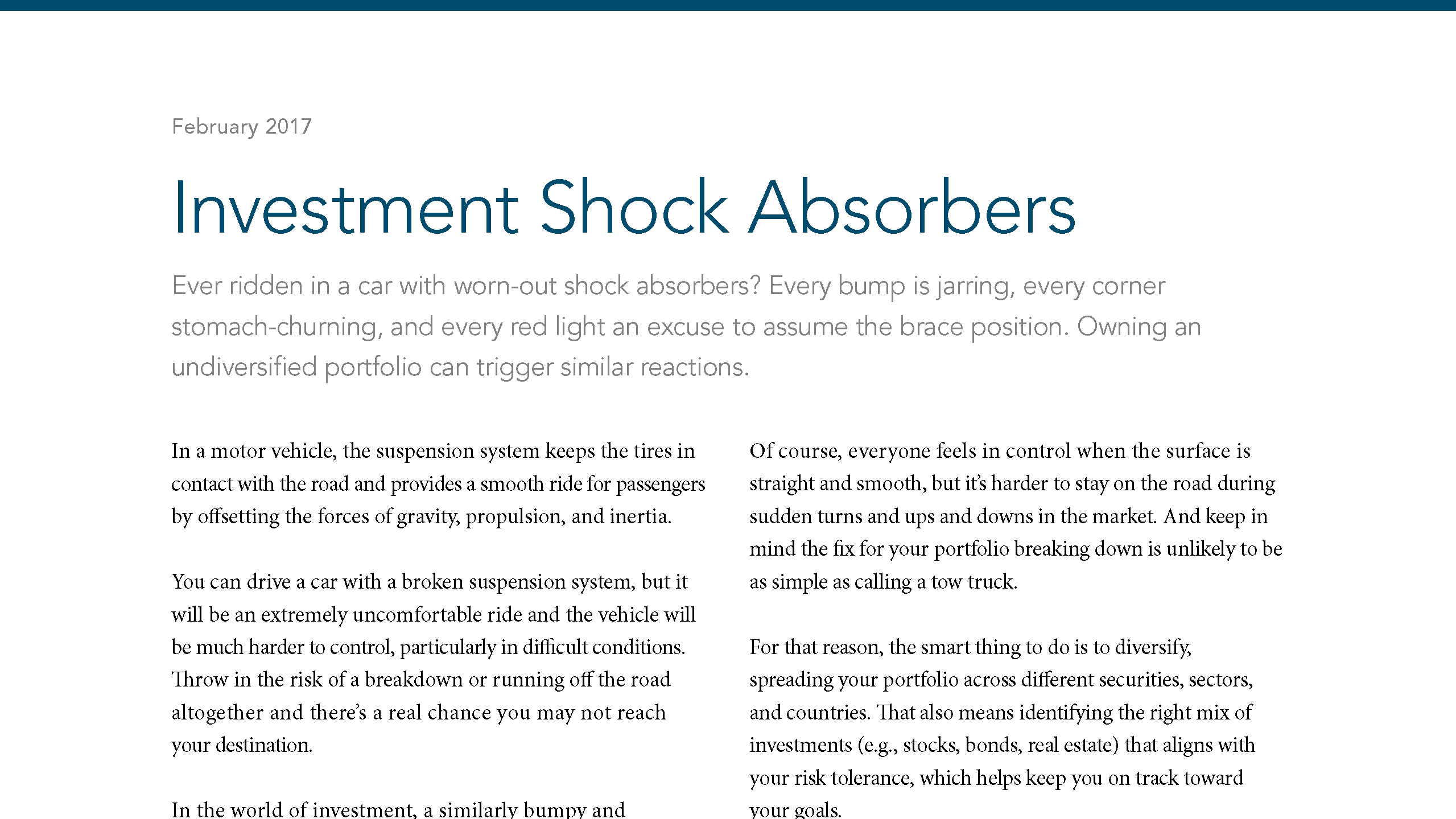 Investment Shock Absorbers 1
