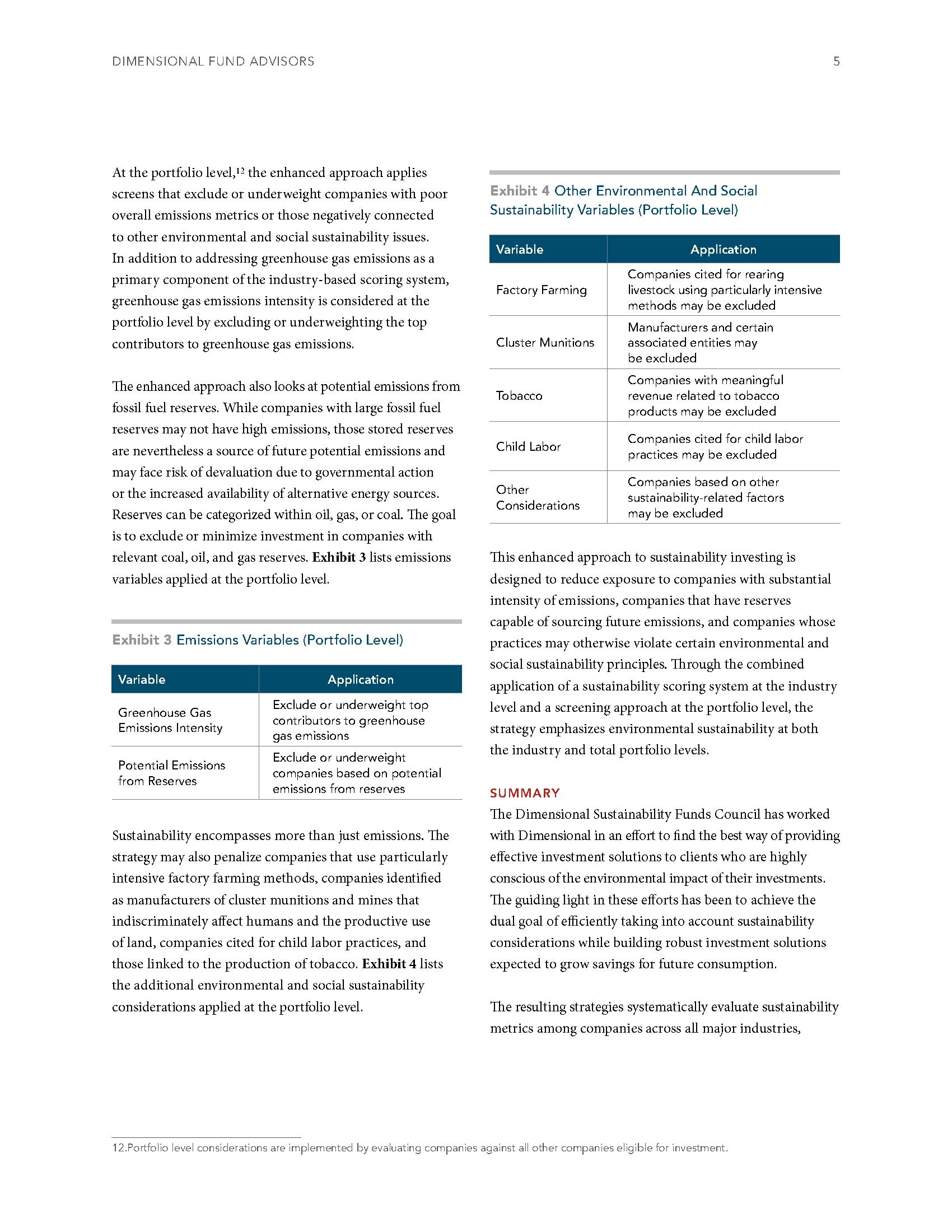 Sustainability Investing CFP DFA 5