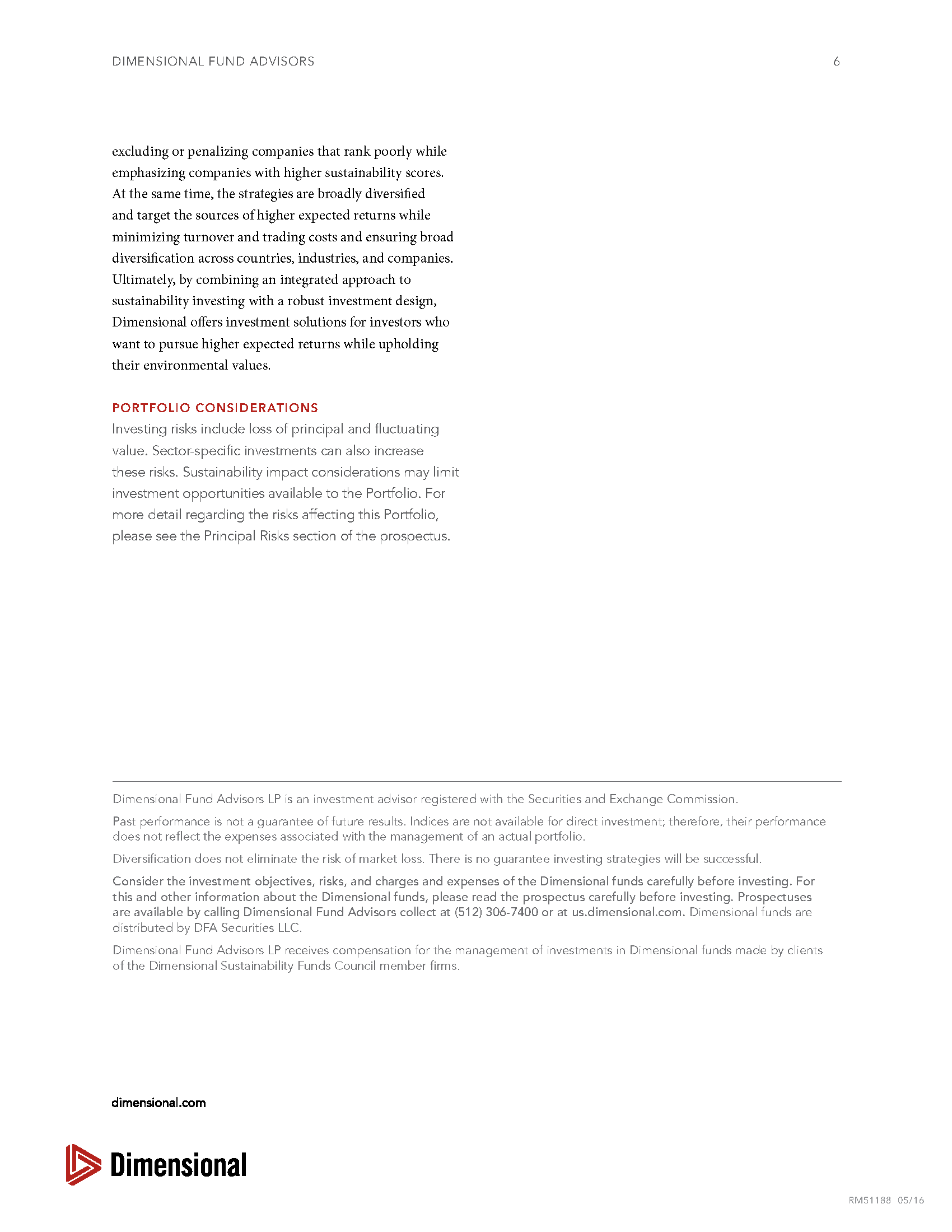 Sustainability Investing CFP DFA 6