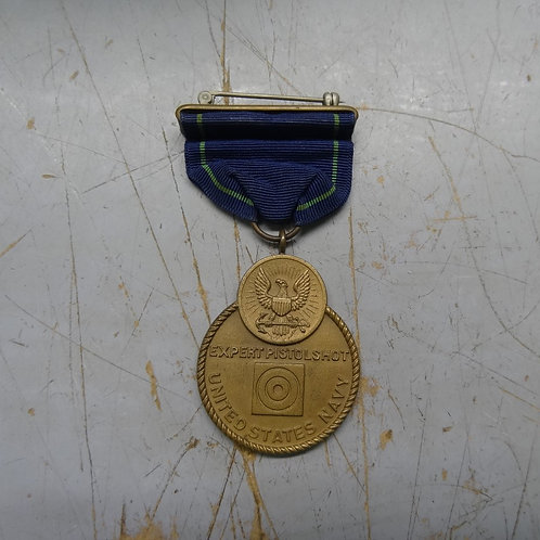 WW2 US NAVY EXPERT PISTOL MEDAL - WRAP BROOCH - #medal2