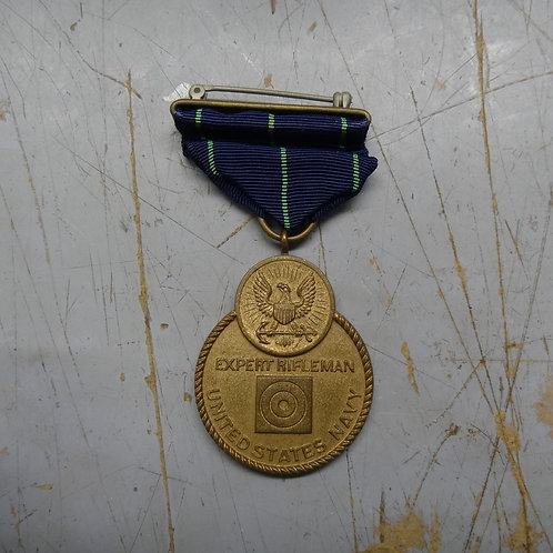 WW2 US NAVY EXPERT RIFLE MEDAL - WRAP BROOCH - #medal1