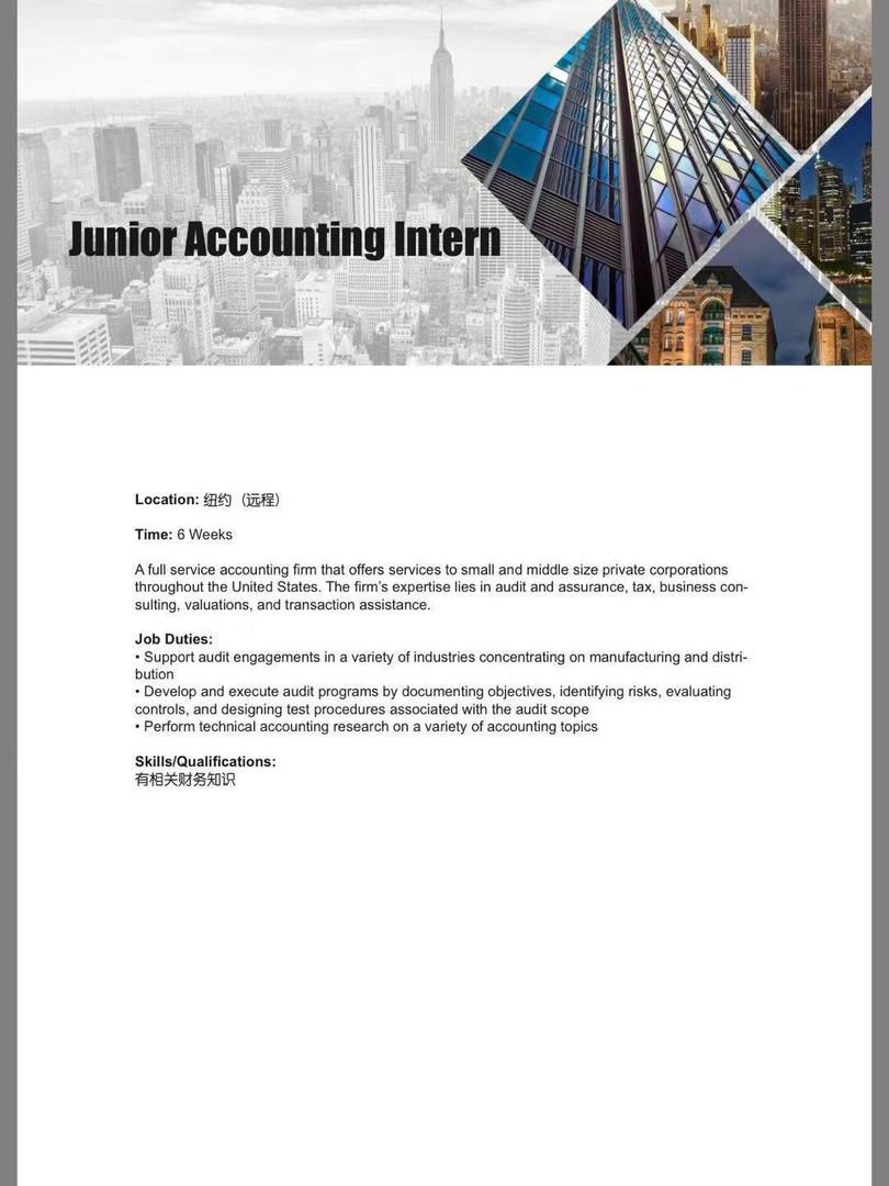 Junior Accounting Intern