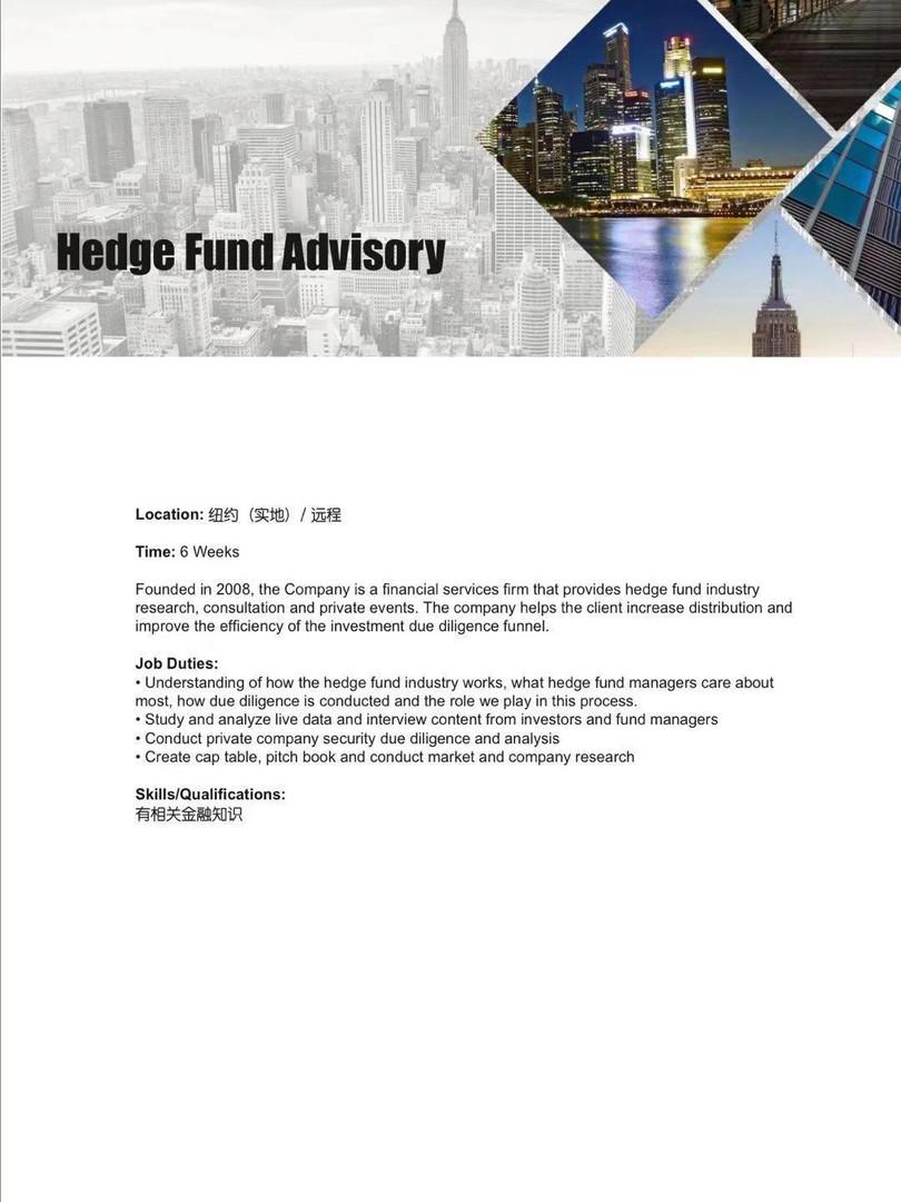 Hedge Fund Advisory