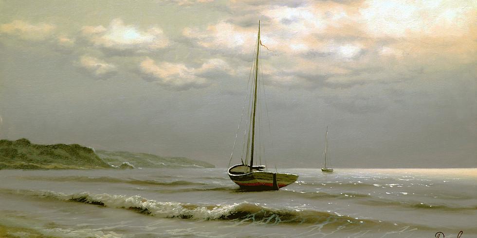 Морской пейзаж с яхтой
