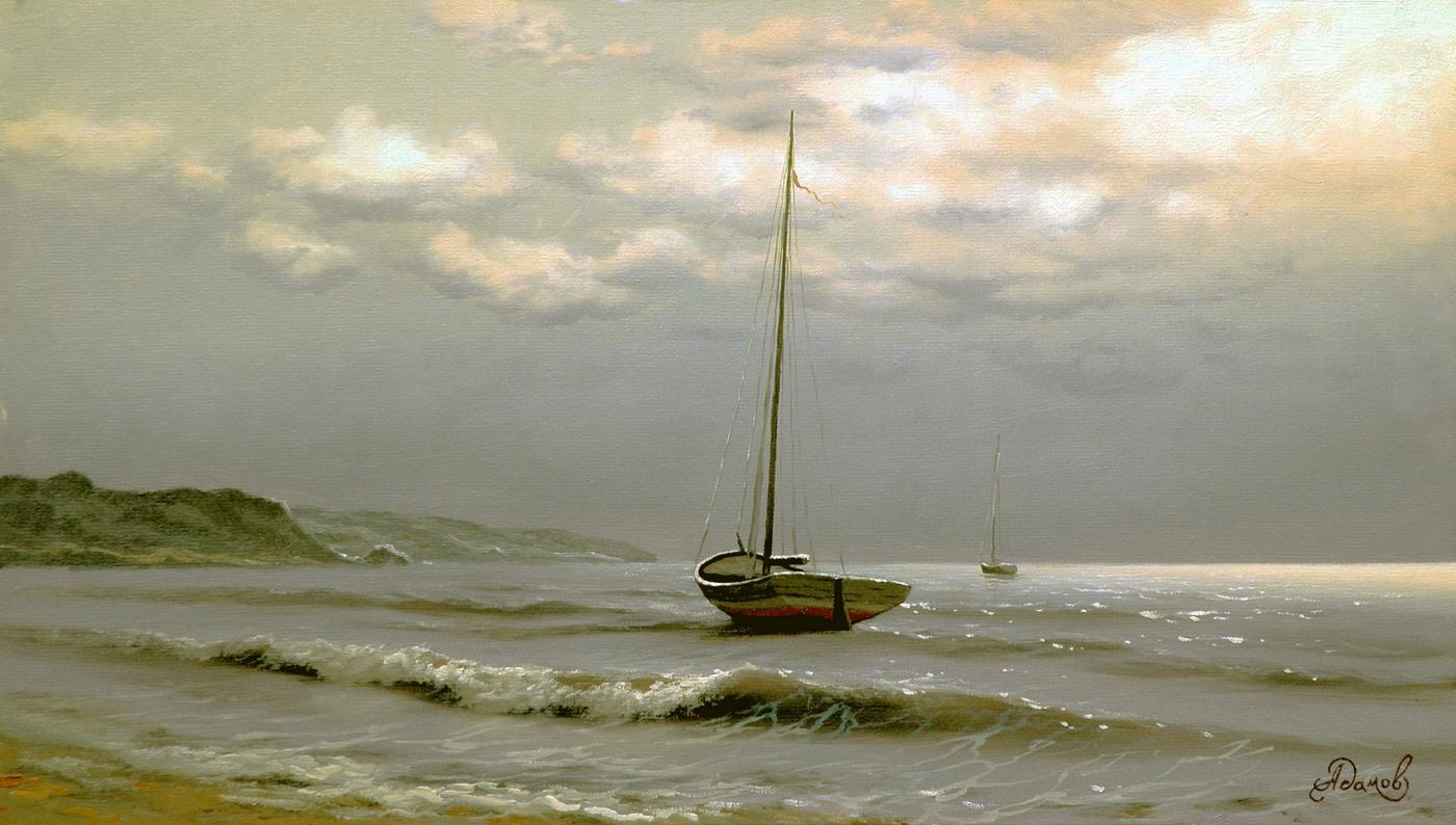 Морской пейзаж с яхтой.JPG