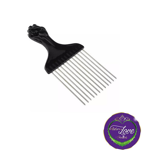 Black Fist Afro Pick Metal Wide Teeth Hair Comb For Volumizing Hair Styling