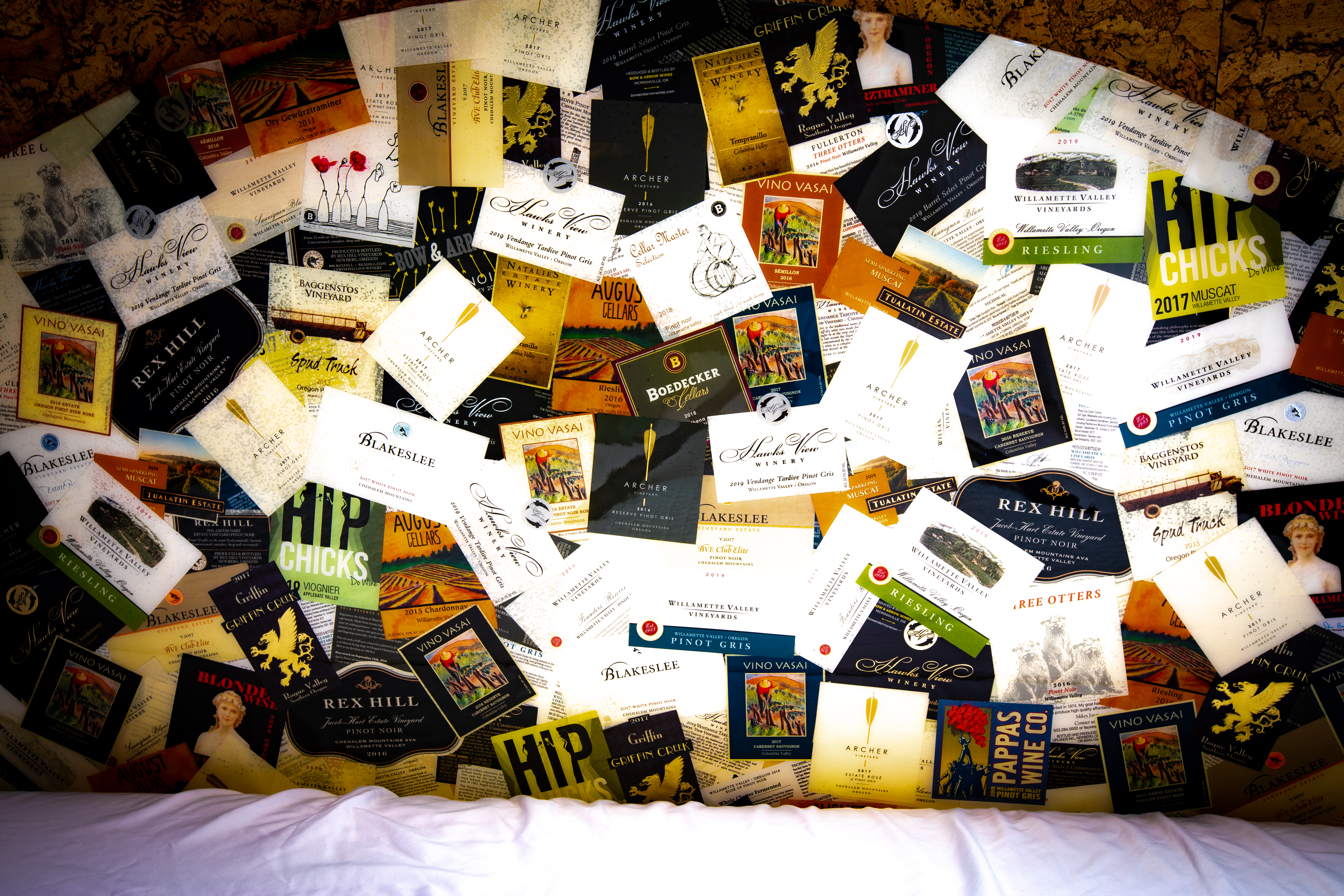 Headboard Made from Local Vineyard Labels