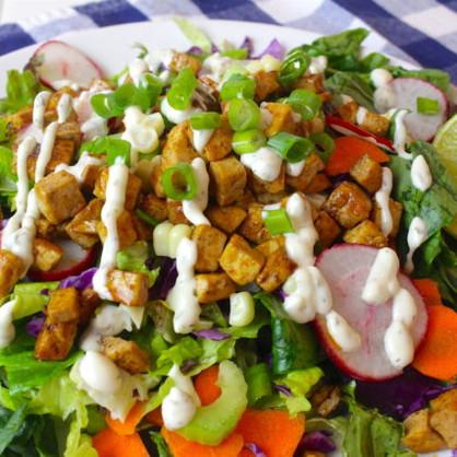 Crispy Tofu & Vegan Ranch Dressing