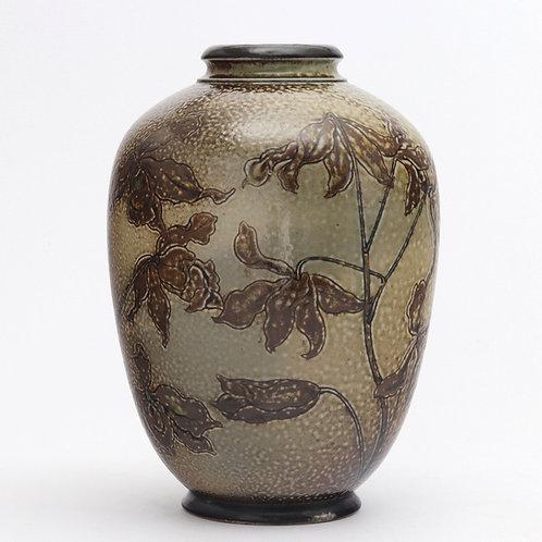 Martin Bros Sgraffito Decorated Stoneware Vase by Edwin Martin 1886