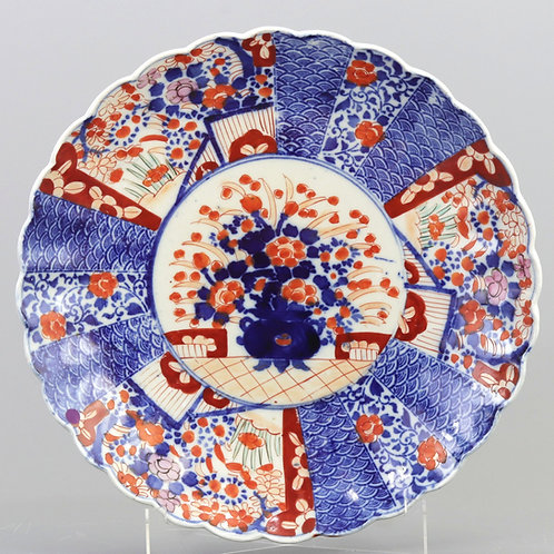 Antique Japanese Imari Scalloped Charger c1900