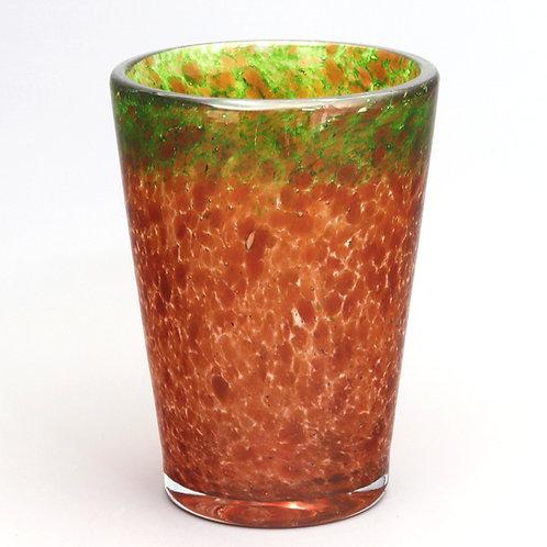 Art Deco Monart Orange Bucket Vase With Aventurine c1930's