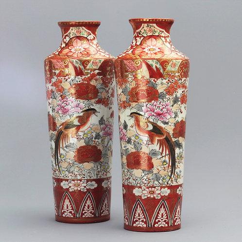 Pair of Japanese Meiji Period Kutani Vases c1890
