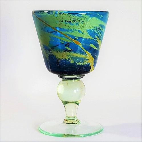 "Mdina Glass Blue ""Crystal"" Goblet signed Eric Dobson 1977"