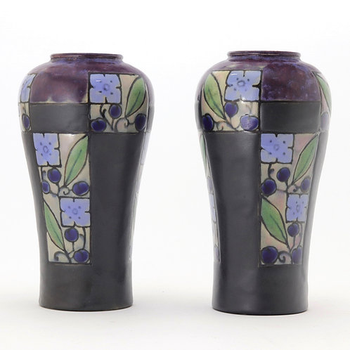 Pair of Royal Doulton Art Deco Vases by Florrie Jones c1920