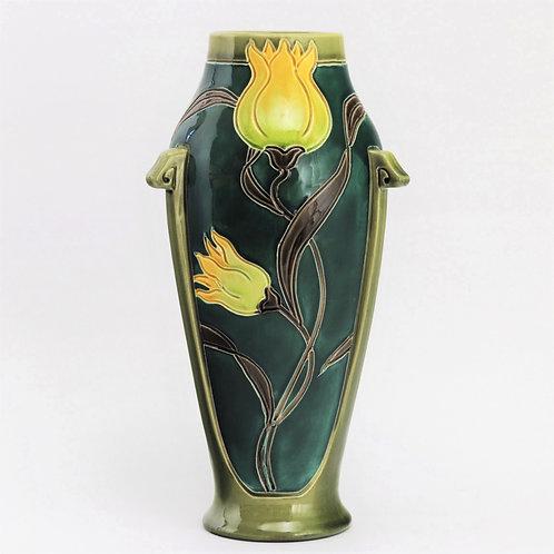Tall Burmantofts Faience Art Nouveau Vase c1900