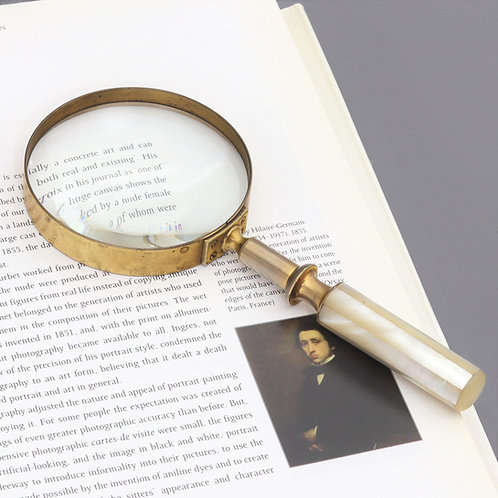Victorian Gilt Brass and Mother of Pearl Magnifying Glass