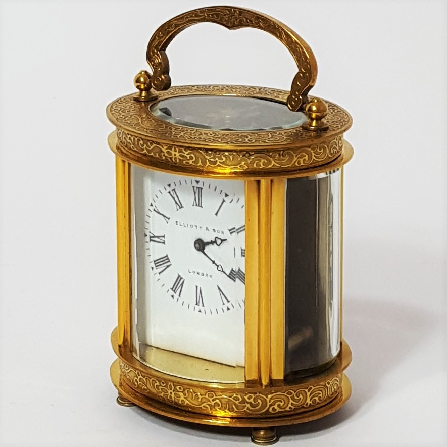 French Oval Engraved Carriage Clock