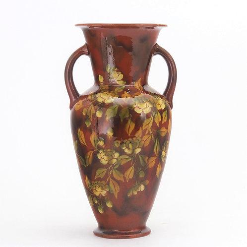 Linthorpe Pottery Twin Handled Decorated Vase c1880