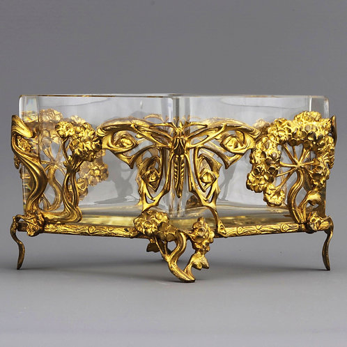 French High Art Nouveau Gilt Metal Centrepiece with Glass Liner c1890