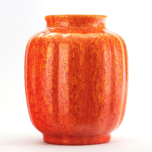 Royal Lancastrian Art Deco Orange-Vermilion Vase c1935