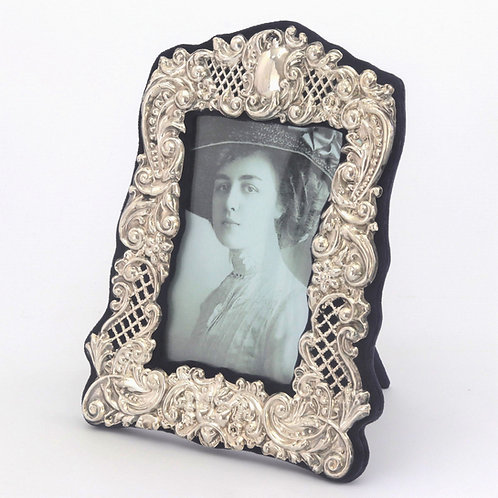 Antique Embossed Silver Photo Frame by Broadway & Co 1906