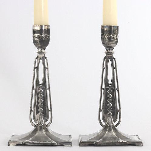 Pair of WMF Jugendstil Antique Silver Plated Candlesticks