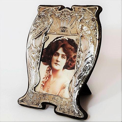Antique High Art Nouveau Silver Photo Frame 1909